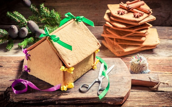 Wallpaper Cookie house, ribbon, scissors, Christmas