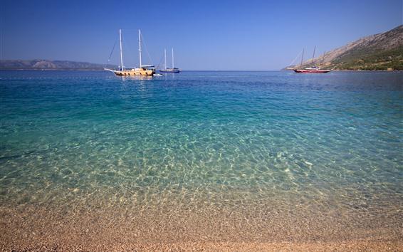 Papéis de Parede Croácia, iates, mar, costa