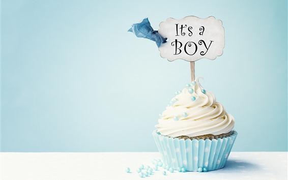Wallpaper Cupcake, cream, inscription, blue background