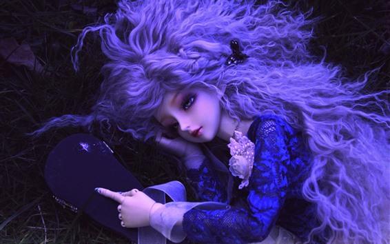 壁紙 人形、おもちゃ、女の子、髪型、草