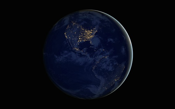 Wallpaper Earth, planet, continents, night, lights