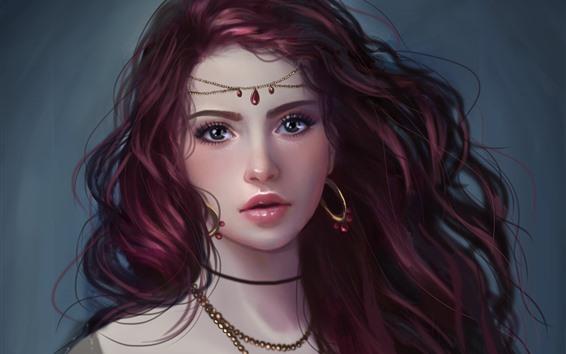 Fondos de pantalla Chica de fantasía, ojos morados, pendientes