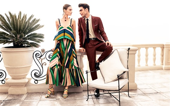 Wallpaper Fashion girl and man, chair