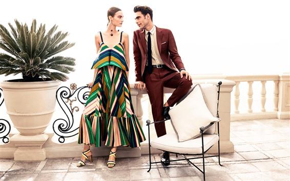 壁紙 ファッションの女の子と男、椅子