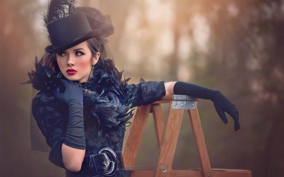 Wallpaper Fashion girl, glamour, hat, pose