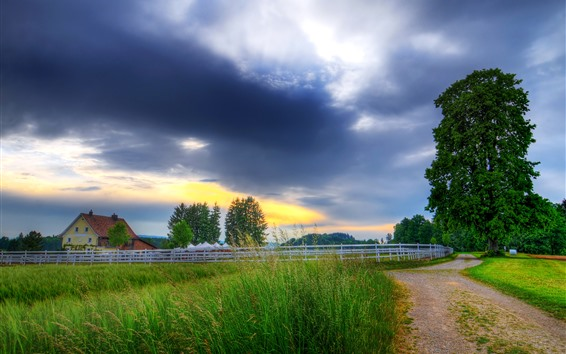 Wallpaper Fence, road, grass, trees, houses, clouds