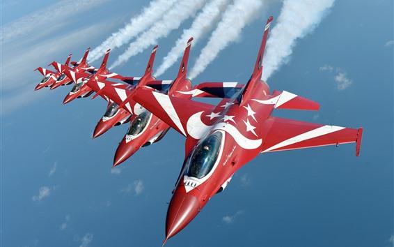 Papéis de Parede Fighting Falcon, caça F-16, show aéreo, fumaça, céu