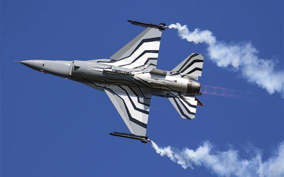 壁紙 ファイティングファルコンF-16AM、多目的戦闘機、煙