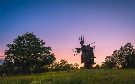 Wallpaper Finland, windmill, trees, grass, sunset