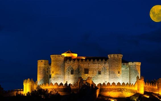 Обои Крепость, замок, ночь, луна