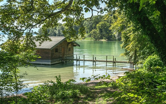 Обои Германия, Бавария, деревья, дом, река