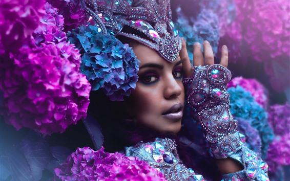 壁紙 女の子、顔、表情、装飾、メイク、アジサイ、花