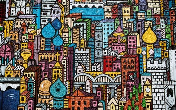 壁紙 落書き、壁、都市、建物、絵画、カラフル