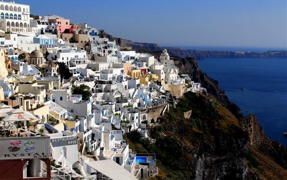 Papéis de Parede Grécia, Santorini, casas, mar, baía