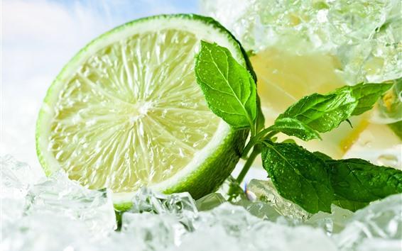 배경 화면 그린 레몬, 얼음 조각, 민트 잎