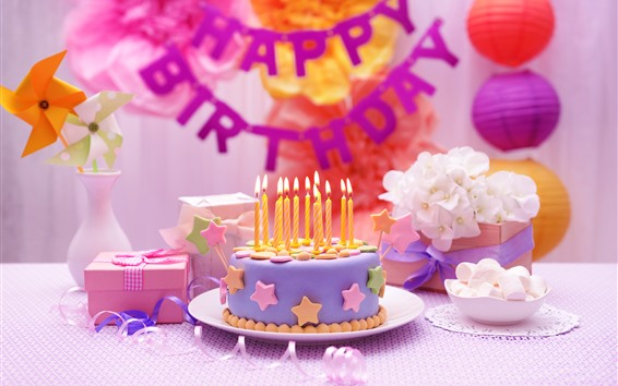 Wallpaper Happy Birthday, cake, candle, gift, windmill