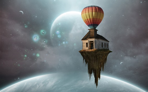 Wallpaper Hot air balloon, house flight, planets, creative picture