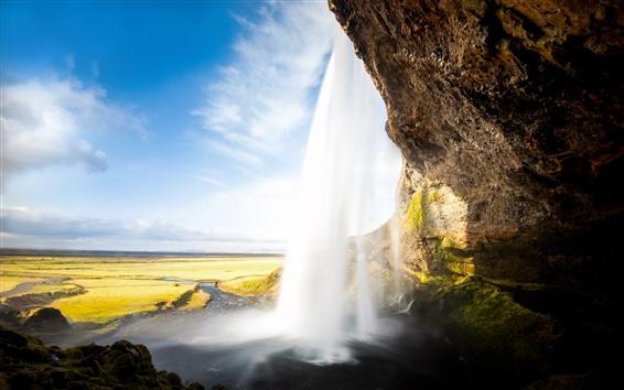 壁紙 アイスランド、滝、セリャラントスフォス、雲、空