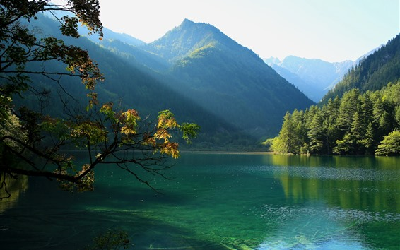 Wallpaper Jiuzhaigou National Park, China, lake, mountain, trees, sun rays, green