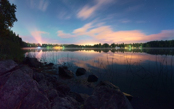 Wallpaper Lake, rocks, grass, trees, stars, lights