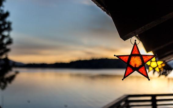 壁紙 湖、星、かすんでいる、夕暮れ