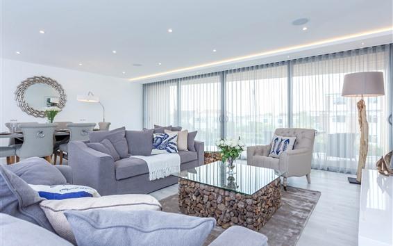 Papéis de Parede Sala de estar, sofá cinza, mesa de vidro