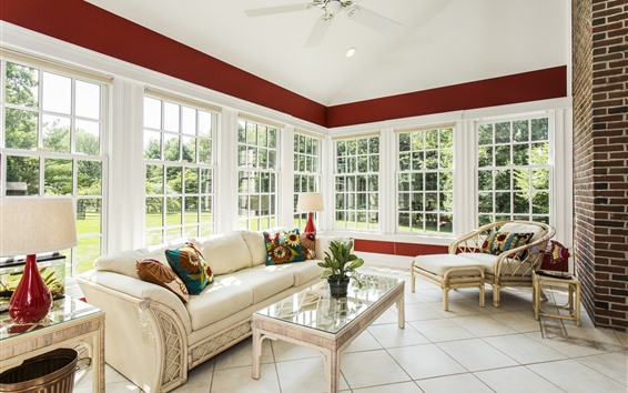 Papéis de Parede Sala de estar, estilo branco, sofá, janelas