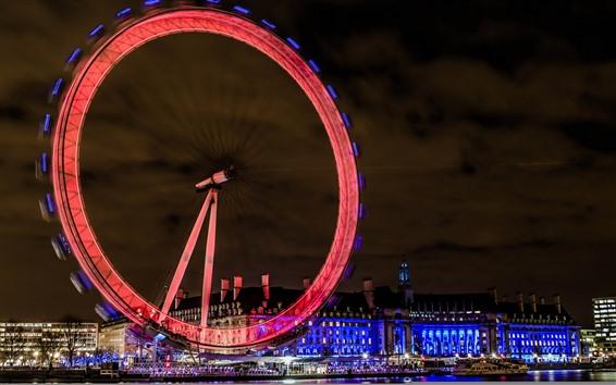 Обои Лондон, Англия, колесо обозрения, огни, ночь