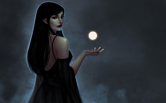 Fondos de pantalla Chica de pelo largo mira hacia atrás, fantasía, luna, magia