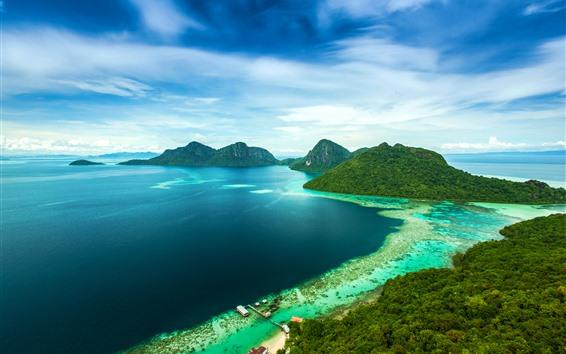 배경 화면 말레이시아, 산, 섬, 바다, 해안, 부두