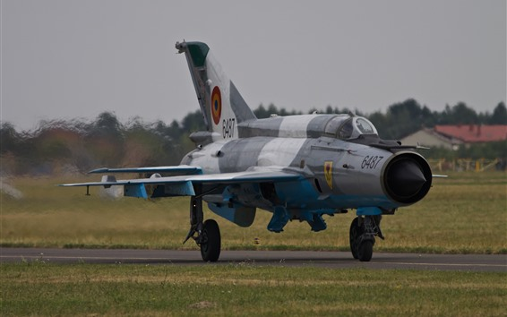 壁紙 MiG-21戦闘機、飛行機、空港