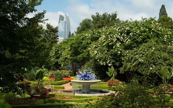 Papéis de Parede Missouri Botanical Garden, parque, banco, fonte, árvores, Atlanta, EUA