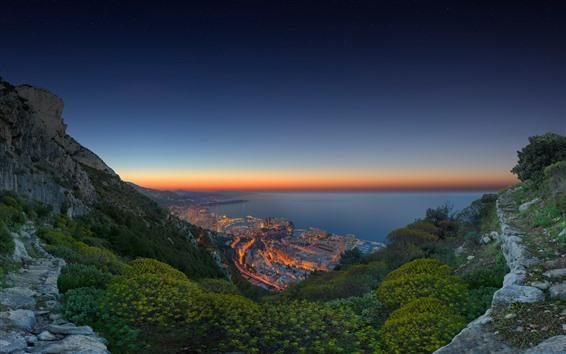Fond d'écran Monaco, côte, mer, ville, nuit, lumières, montagnes