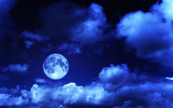 Papéis de Parede Lua, céu, nuvens, azul, noite