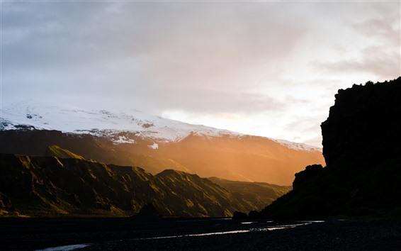 Wallpaper Mountains, snow, sun rays, fog, valley