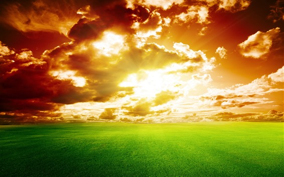 Wallpaper Nature landscape, fields, clouds, sunset, sky, green
