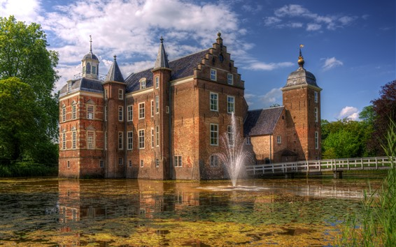 Wallpaper Netherlands, fountain, castle, lake
