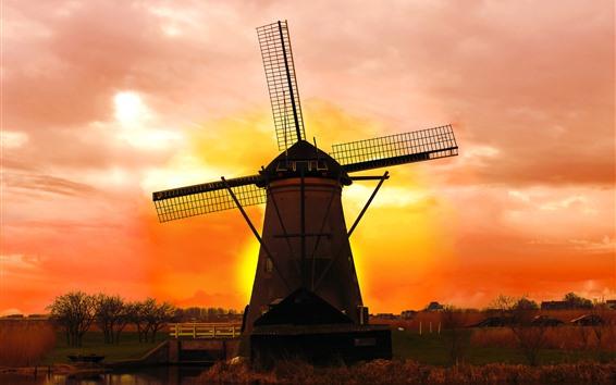Fondos de pantalla Países Bajos, molino de viento, puesta de sol, cielo rojo