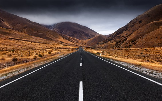 Wallpaper New Zealand, South island, road, mountains, storm