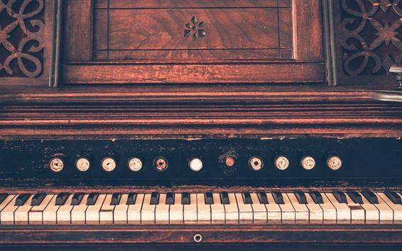Wallpaper Old piano, keys