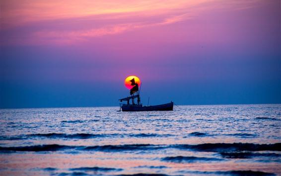Papéis de Parede Um barco, mar, pôr do sol