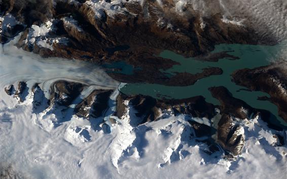 Papéis de Parede Patagônia, neve, terra, vista do espaço