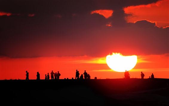 壁紙 人、シルエット、夕焼け、太陽、赤い空