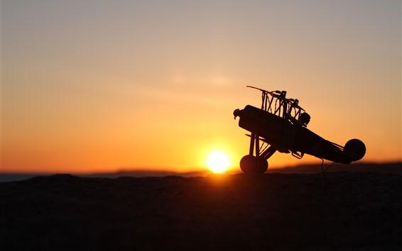 Wallpaper Plane, sunset, silhouette
