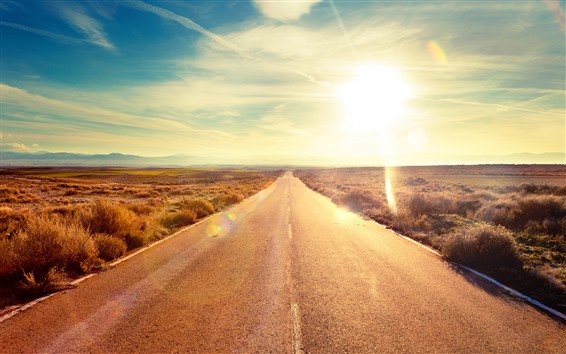 Wallpaper Road, sunshine, grass, sky, nature landscape