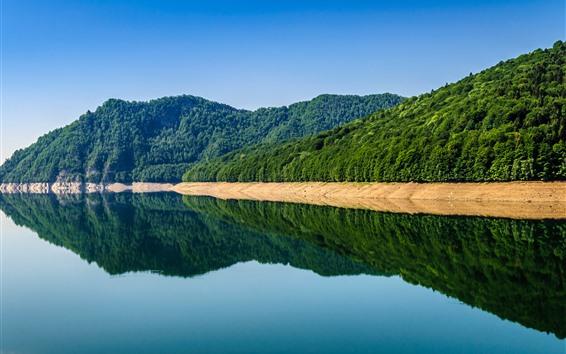 Papéis de Parede Romênia, lago, montanhas, reflexo da água