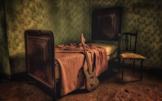 Fondos de pantalla Habitación, cama, silla, guitarra, interior