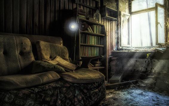Wallpaper Room, books, sofa, windows, dust, ruins