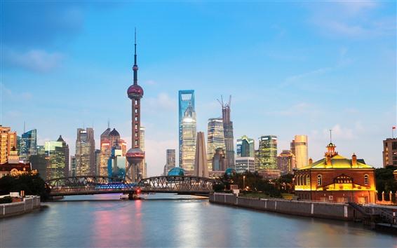 Обои Шанхай, река, небоскребы, башня, мост, огни, сумерки, Китай