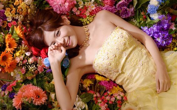 Wallpaper Smile Asian girl, skirt, flowers